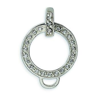 Sterling Silver CZ Charm Holder Pendant - Measures 24x17mm