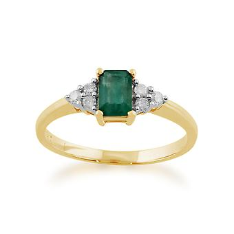 9ct Yellow Gold 0.53ct Natural Emerald & Diamond Single Stone Ring