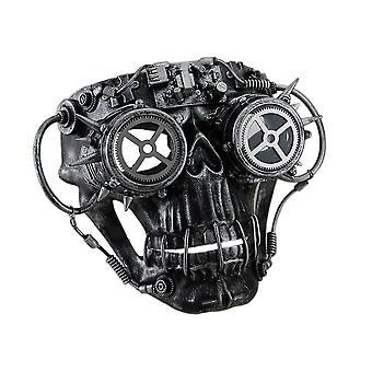 Cráneo de Steampunk con máscara de gafas con picos el acabado metálico de Steamskully