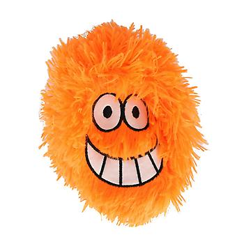 Children's 6 Inch Inflatable Neon Orange Cheesy Grin Funny Face Furry Ball With Eyes