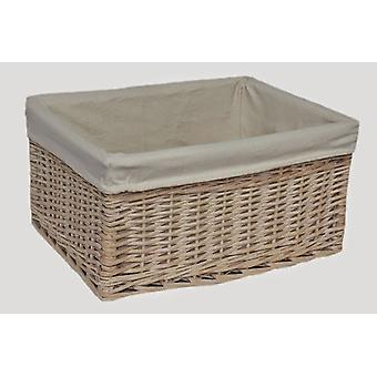 Small White Lined Storage Basket