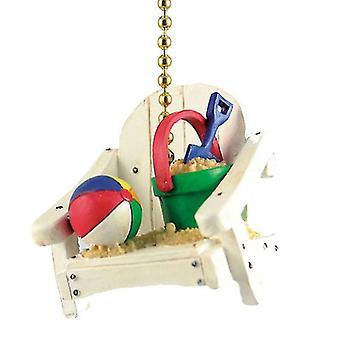 Island Beach Chair with Sand Bucket and Beach Ball Decor Ceiling Fan Light Pull