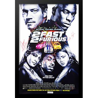 2 Fast 2 Furious Movie Poster - Signed by Cast - Framed with COA