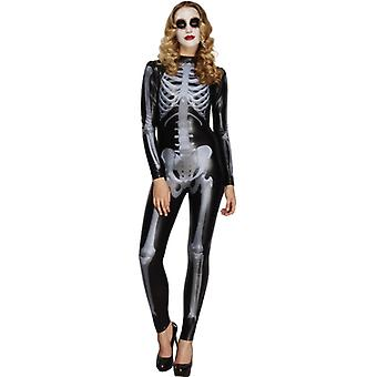 Fever collection Miss whiplash printed skeleton costume black Catsuit size L