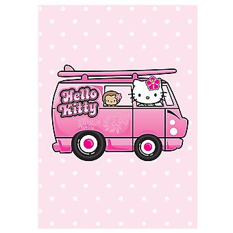 Hello Kitty Pink Polka Dot Camper Van Card