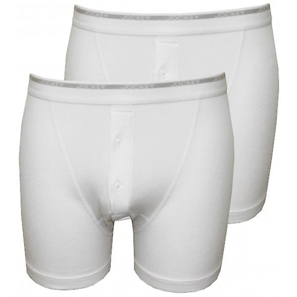 Jockey 2-Pack Modern Classic Button-Fly Boxer Trunks, White