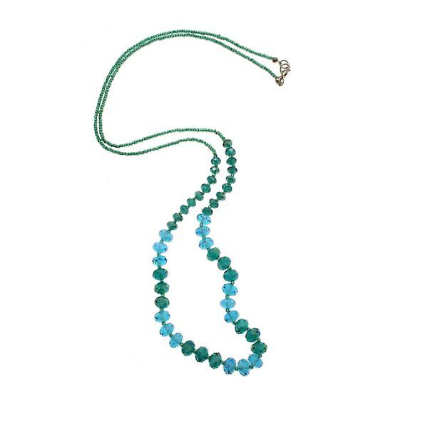 W.A.T Teal Blue Facet Cut Crystal Bead Necklace