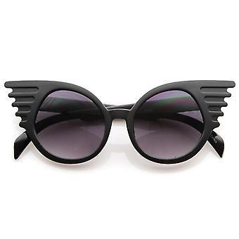 Designer Inspired Fashion Eccentric Unique Round Circle Winged Sunglasses