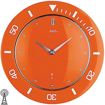 modern wall clock radio clock radio Orange corrugated plastic housing