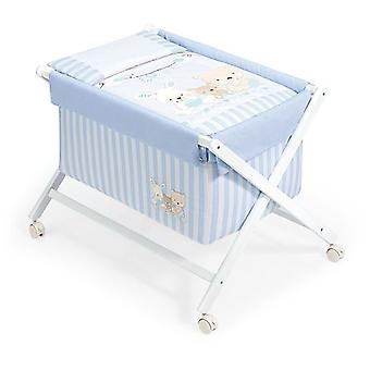 Interbaby Textile Walnut Model minicuna With Love Blue