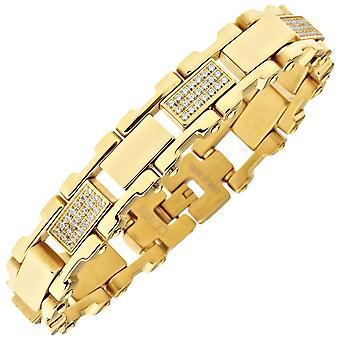 Iced out solid stainless steel cubic zirconia bracelet - 16mm gold