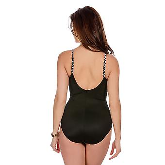 Miraclesuit 6502486 Women's Between The Pleats Aragon Underwired Control Swimsuit Black and White