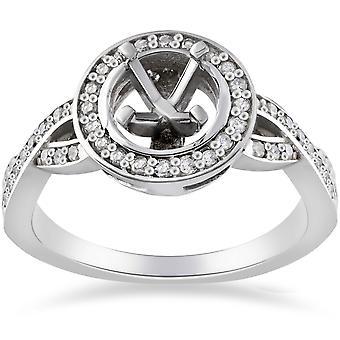 1 / 4ct diamante compromiso Halo anillo Semi montaje 14K oro blanco