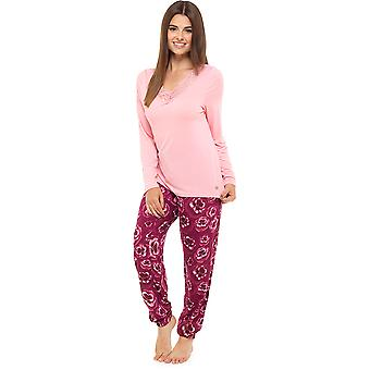 Ladies Wolf & Harte Floral Pansy Printed Long Winter Pyjama pajama Sleepwear