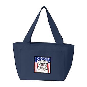 Bandiera americana e bianco Bulldog inglese Lunch Bag