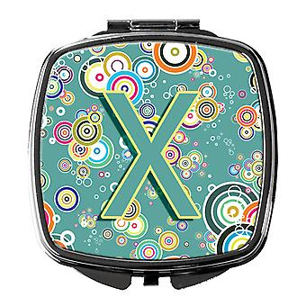 Letter X Circle Circle Teal Initial Alphabet Compact Mirror