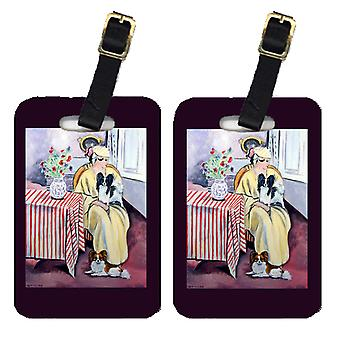 Carolines Treasures  7069BT Lady with her Papillon Luggage Tags Pair of 2
