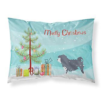 Lowchen feliz árbol de Navidad tela almohada estándar