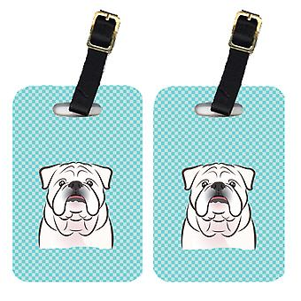 Pair of Checkerboard Blue White English Bulldog  Luggage Tags