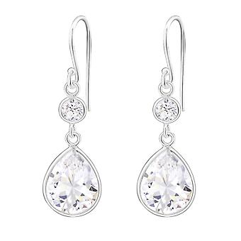 Tear Drop - 925 Sterling Silver Cubic Zirconia Earrings - W23249x