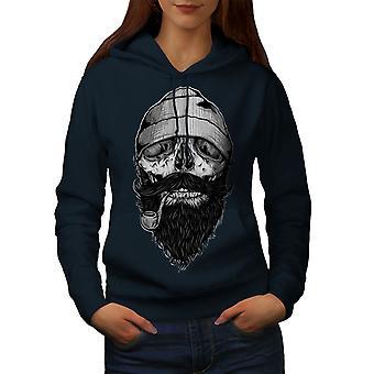 Pali broda czaszka kobiety NavyHoodie | Wellcoda