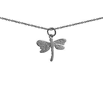 Серебряная подвеска стрекоза бабочка 20x15mm с Роло цепи 24 дюймов