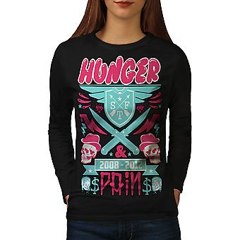 Hunger Schmerzen Schädel Essen Frauen BlackLong Sleeve T-shirt   Wellcoda