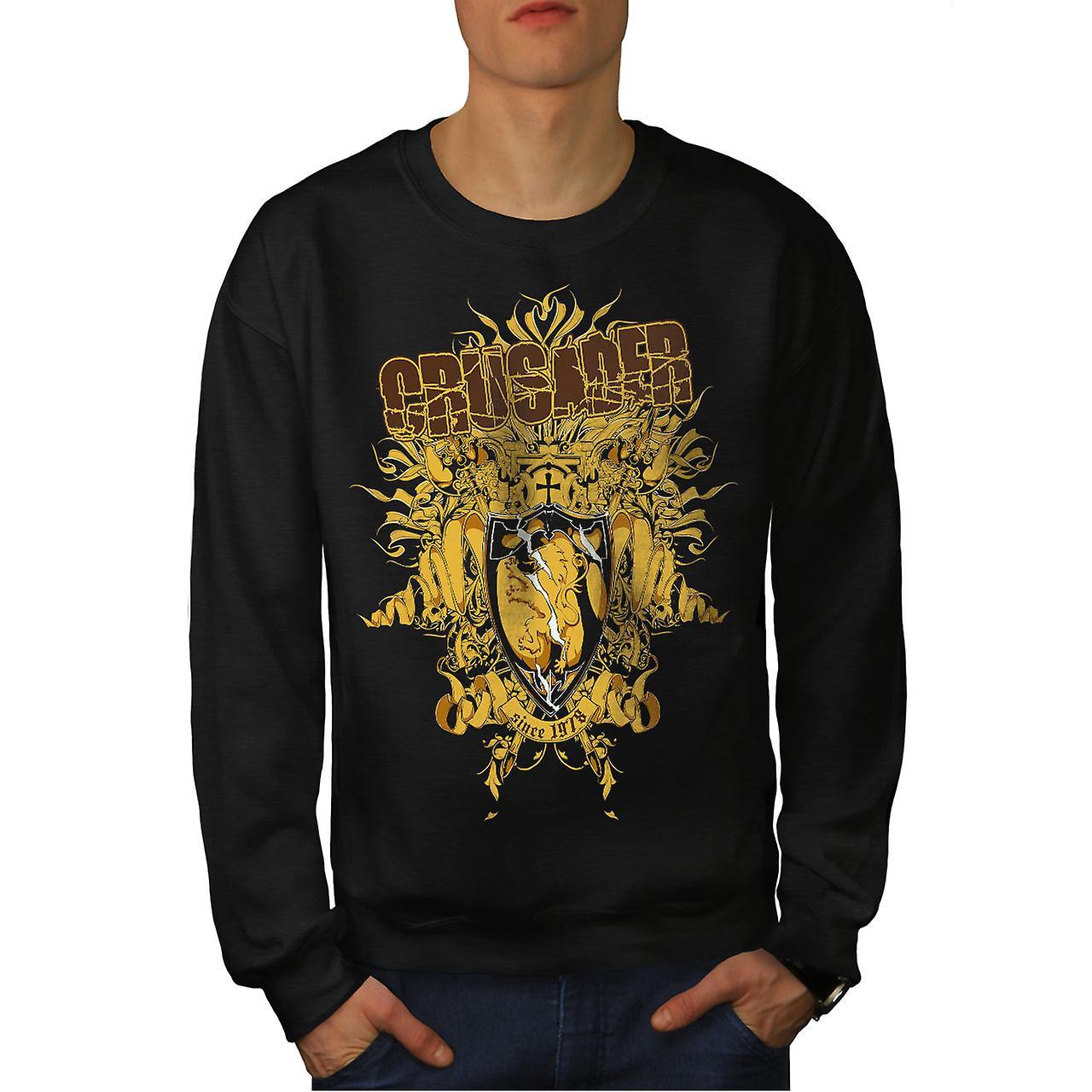 Kreuzritter-Schild Mode Herren Sweatshirt schwarz | Wellcoda