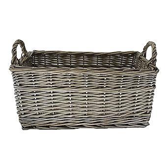 Medium Shallow Antique Wash Storage Wicker Basket