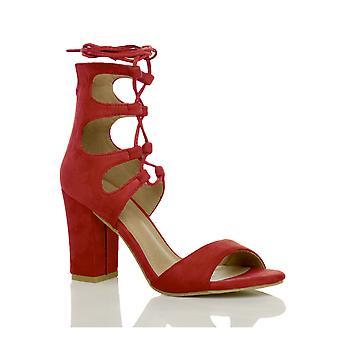 Ajvani mujeres bloque alto talón ghillie enjaulado lazo encaje corte sandalias peep toe zapatos