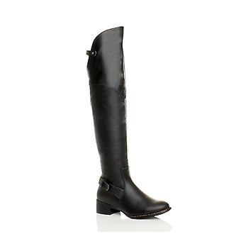 Ajvani womens low mid block heel chain over the knee riding boots