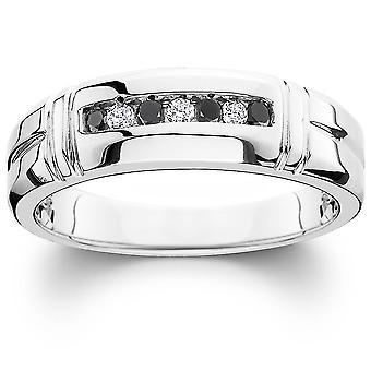 1/3ct Black & White Diamond Mens Wedding Ring 10K White Gold
