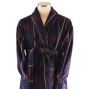 Bown of London Maine Dressing Gown - Navy/Burgundy/Gold