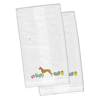 Pharaoh Hound Easter White Embroidered Plush Hand Towel Set of 2