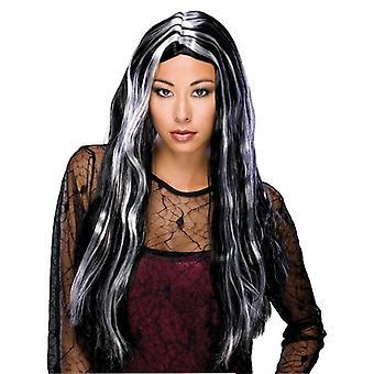 24-inch lange heks grijs Ghost gotische dag van de dode tovenares vrouwen kostuum pruik