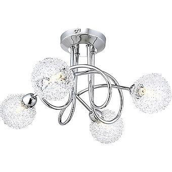 Contemporary 4-Arm Chrome Ceiling Light with Unique Wire Mesh Shades