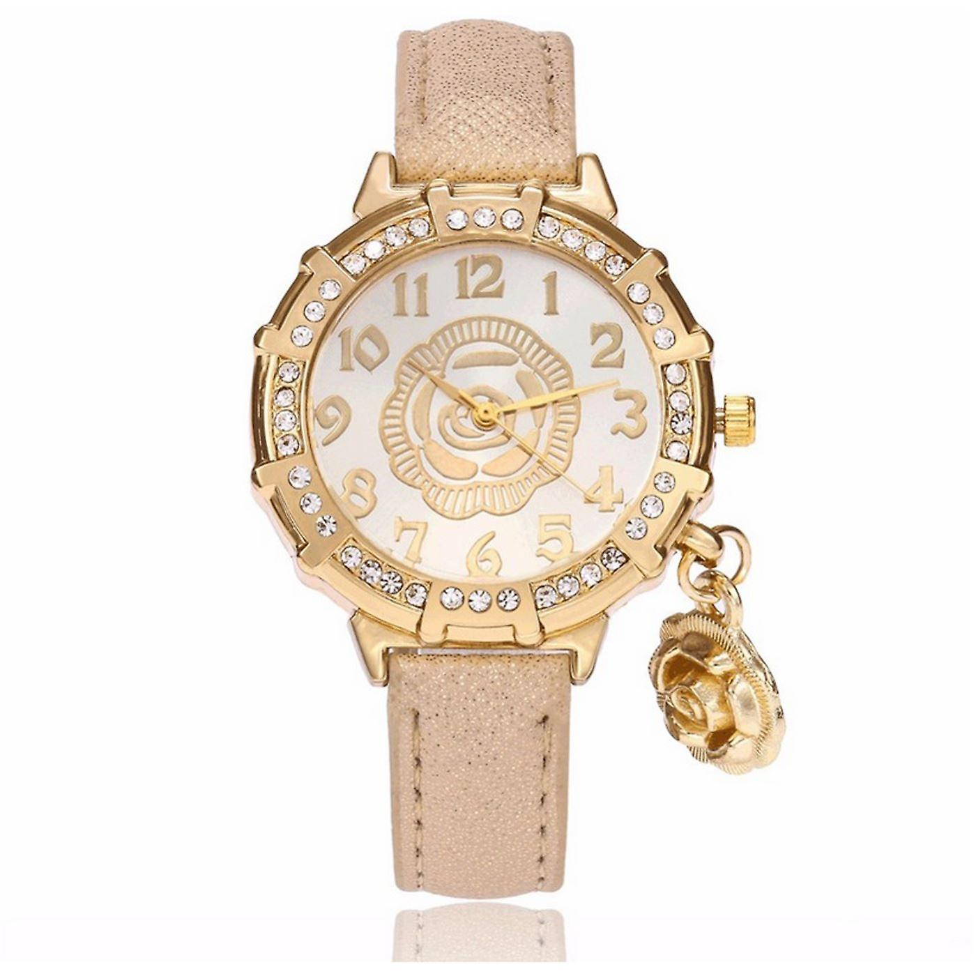 Classy Yellow Gold Flower Watch Luxury Stones Elegant Time GOLD