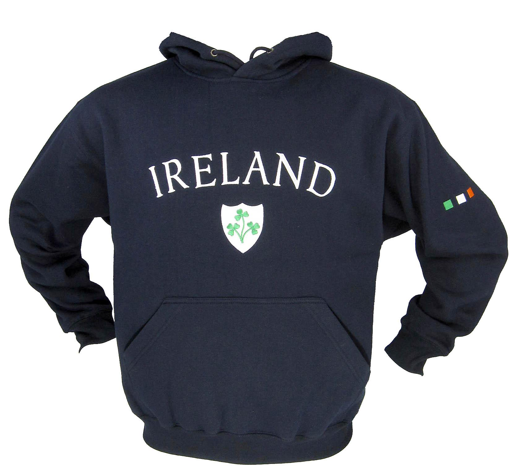 Ireland Shamrock Navy Fleece Lined Rugby Hoody - Sizes XS - XXL