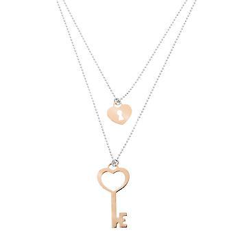 Orphelia sølv 925 halskæde Bicolor Small Key + lås ZK-7185/1