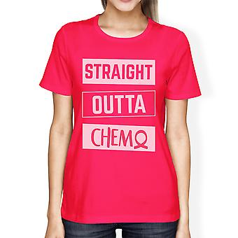 Straight Outta Chemo Womens Hot Pink Breast Cancer Support T-Shirt