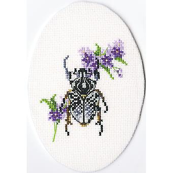 Bug On Lungwort Counted Cross Stitch Kit-3