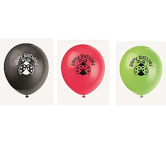8 Helium Quality Assorted Ladybird Printed Balloons