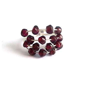 Gemshine - mujer - anillo - 925 plata - granate - rojo oscuro