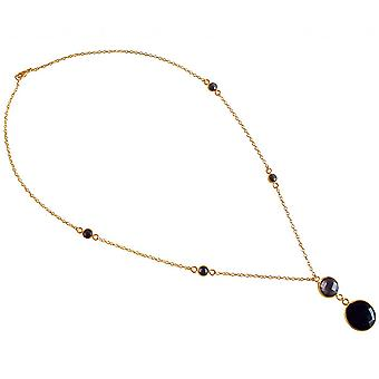 Pendant 925 Silver - gold plated ladies - necklace - 45 cm - faceted Onyx - smoky Quartz - Black - Brown-
