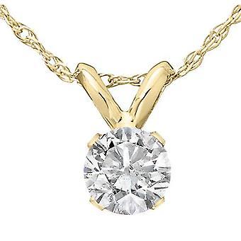 1/3 ct пасьянс круглый бриллиант кулон 14K желтое золото w / 18