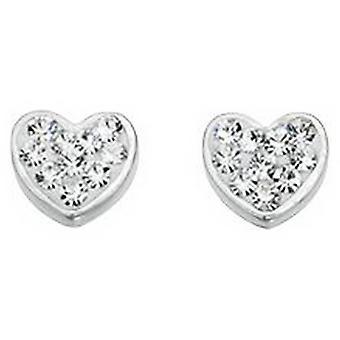 Beginnings Crystal Fantasy Set Heart Stud Earrings - Silver/Clear