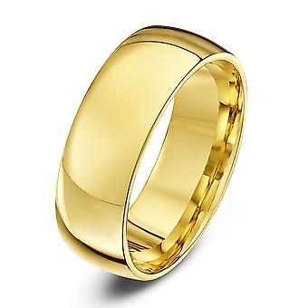 Star Wedding Rings 9ct Yellow Gold Light Court Shape 7mm Wedding Ring