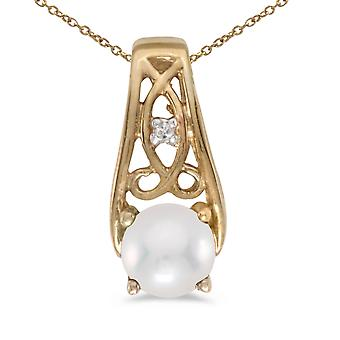 10k Yellow Gold Freshwater Cultured Pearl And Diamond Pendant with 18