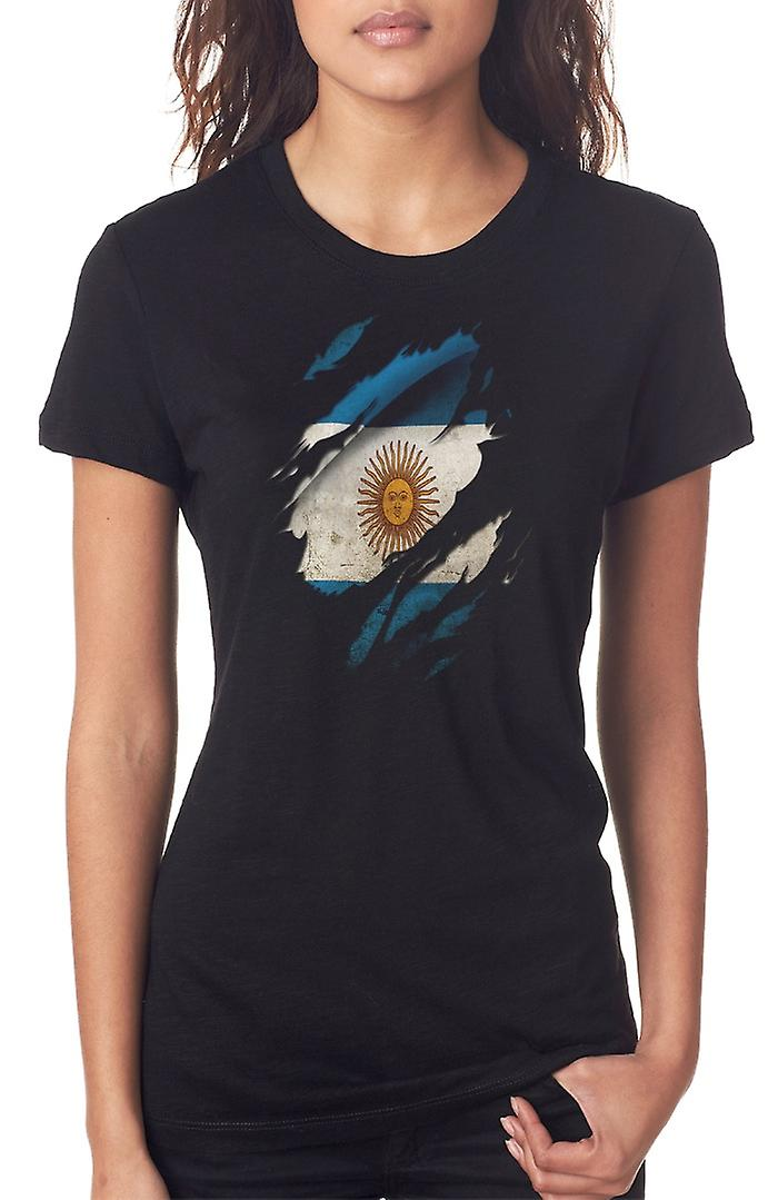 Argentinian Grunge Flag Ripped Effect Ladies T Shirt