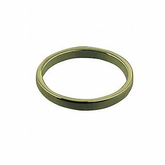 9ct Gold 2mm plain flat Wedding Ring Size P